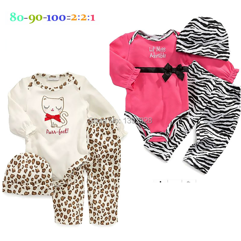 Carters baby girl rompers leopard baby rompers infant newborn baby clothes romper+hat+pants 3pcs clothing set