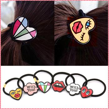 Korean Style Cartoon Shape Elastic Hair Bands Fashion Character Design elastic for the hair Women Girl lovely hair ropes #JH048