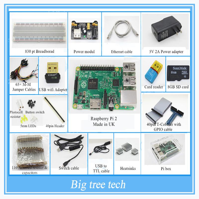 (Pi included) Raspberry Pi 2 Model B 1GB RAM Starter Pack Starter kits pi box cable leds breadboard Pi Cobbler Breakout Kit GPIO<br><br>Aliexpress