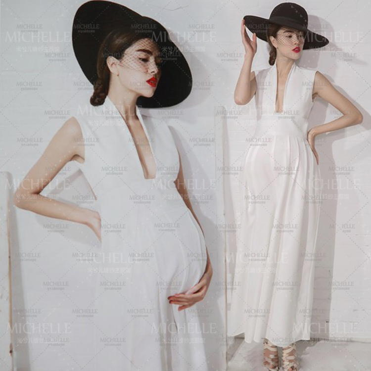 Noble Smooth White Long Cute Elegant Dress Maternity Photography Props Pregnant Women Romantic Photo Shoot Fancy costume Size L