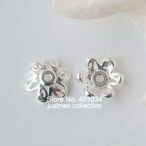 6mm solid 925 sterling sliver fancy flower bead caps with 0.9mm hole, loose spacer beads jewelry findings,, wholesale 50pcs