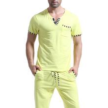 Men T Shirt Cotton Pajama Set Sleepwear Sleep Bottoms Yoga Long Pants Pajama Tees Undershirts Tshirts Brand Casual Short Sleeve(China (Mainland))