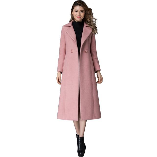 Женщины Зима Двойной Брестед Розовый Шерстяное Пальто Европа Стиль Плюс Размер Сплошной Цвет Элегантные Длинные Жакеты Doudoune Femme 1813