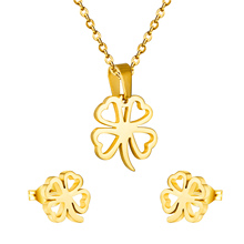 2016 Brand New Necklace Set Trendy 18K Real Gold Plated heart palm-leaf fan Necklace Earrings Jewelry Sets For Women(China (Mainland))