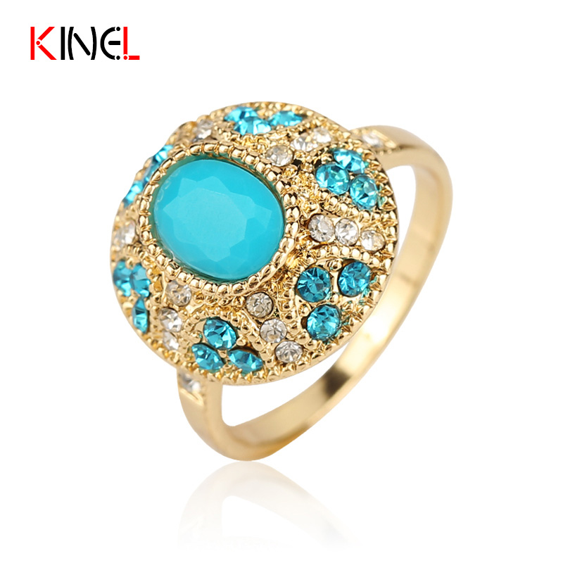 Cute Bohemia Little Fresh Ring For Women 18K Gold Plated CZ Diamond Mosaic Turquoise Fine Jewelry Unique Engagement Ring()