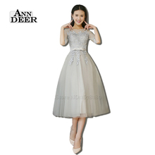 ANN DEER Real Photos A-Line O-Neck Half Sleeve Short Evening Dresses Gowns with Appliques Formal Dress Robe De Soiree T409(China (Mainland))