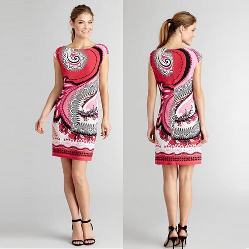 Top Quality New Fashion European Designer Dress Summer 2015 Women Abstract Print Cap Sleeve 100% Silk Jersey Plus Size XXL Dress(China (Mainland))