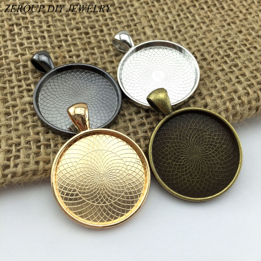 ZEROUP 5pcs 25mm Silver Rose Gold Plated Necklace Pendant Setting Cabochon Cameo Base Tray Copper Bezel Blank Jewelry Findings(China (Mainland))