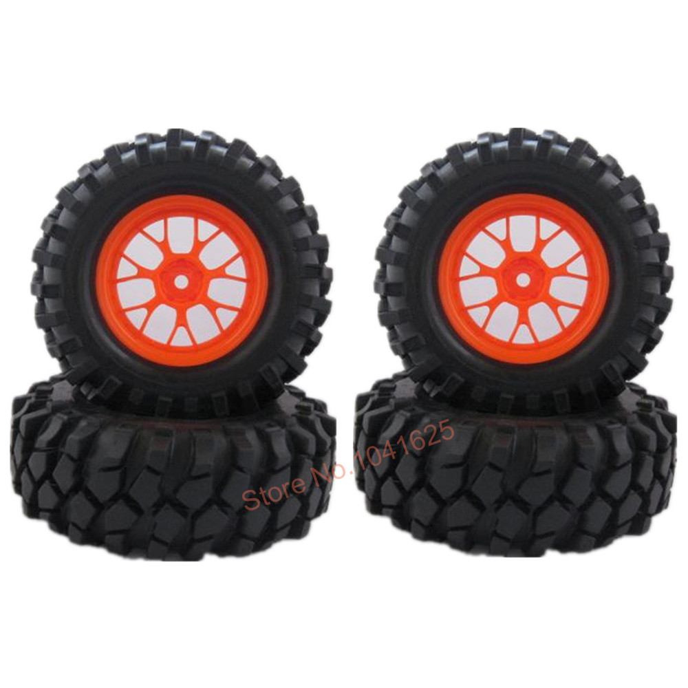 4x Rubber 96mm 1.9'' RC Crawler Tires & Wheel 12mm Compatible with 1/10 RC Rock Racer Car HSP Pangolin Redcat Himoto HPI K949(China (Mainland))