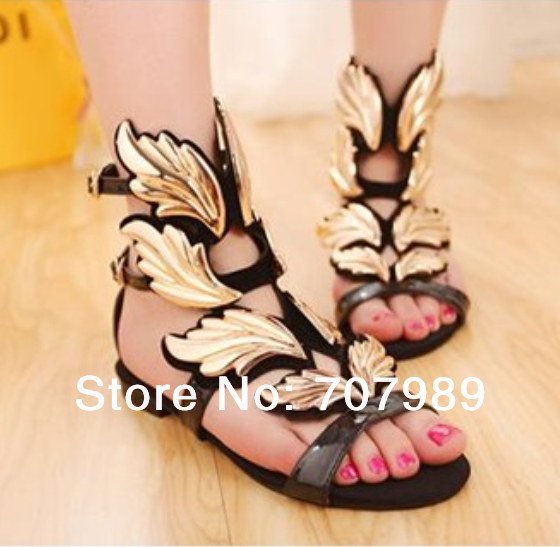 Size35-41 New ladies women sandals flats comfort sexy campagus star woman gold leaf flame wings buckle shoes<br><br>Aliexpress
