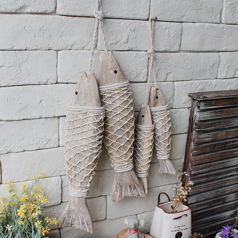 Style Mediterranean Wooden Hanging Fish Village Decorated With And Handicrafts Animal Wall Decoration Marine Decor 2pcs/set(China (Mainland))