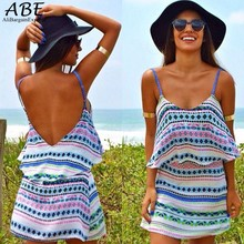 Buy 2016 Summer Style Women Sexy Spaghetti Strap Dress Backless Flouncing Hem Print Loose Chiffon Mini Dress vestido de festa 51 for $9.87 in AliExpress store