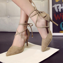 2016 Spring Summer Style Pumps Gladiator Women Sandals Ankle Strap High Heels Shoes Shallow Cross-tied Pointed Toe Lace Up Pump(China (Mainland))
