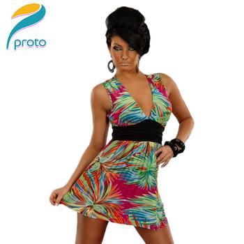 M XXL Plus Size Freeshipping 2013 New Fashion Women Sexy Deep V Flower Printed High Waist Club Party Mini Dress 4140