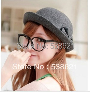 Retail 1pc popular Women's Bowler hats felt cap Dome caps Round top ladies wool hat In stock(China (Mainland))