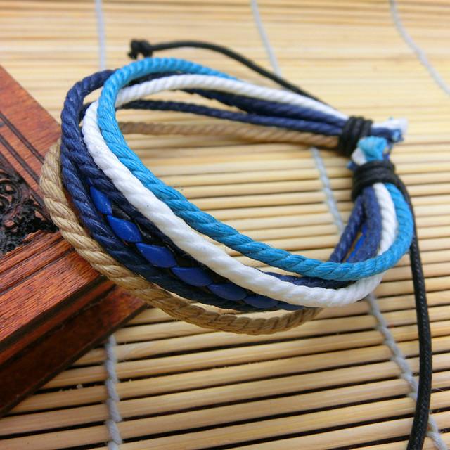 Дизайнер ручной работы веревка браслет панк мужчины женщины ручной работы кросс-одевания ...
