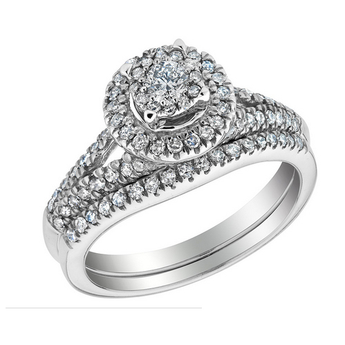 Customize Jewelry 0.6ct Lab Grown Diamond Halo Ring In 9K White Gold &amp; Micro Pave Mens Ring With 2mm Wide <br><br>Aliexpress