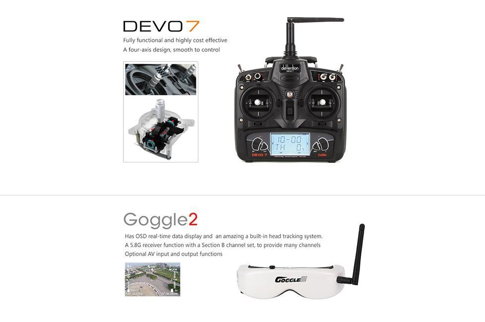 Walkera Runner 250 RTF FPV Drone Quadcopter with DEVO 7 HD Camera Image Transmission OSD Goggle
