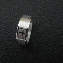 2015 Hot Sale Fashion Punk Jewelry Men Stainless Steel Bible Lord s Prayer Cross Ring Finger