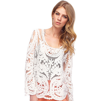 Summer Style Women Tops 2015 Fashion Women Shirts Embroidery Floral Hollow Lady Lace Crochet Tee long Tops Blouse blusa feminina