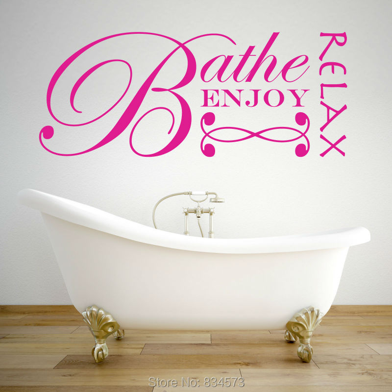 Bathroom Bathe Enjoy Relax Quote Wall Art Sticker Decal Home DIY Decoration Decor Wall Mural Removable Room Decal Sticker 39x96()