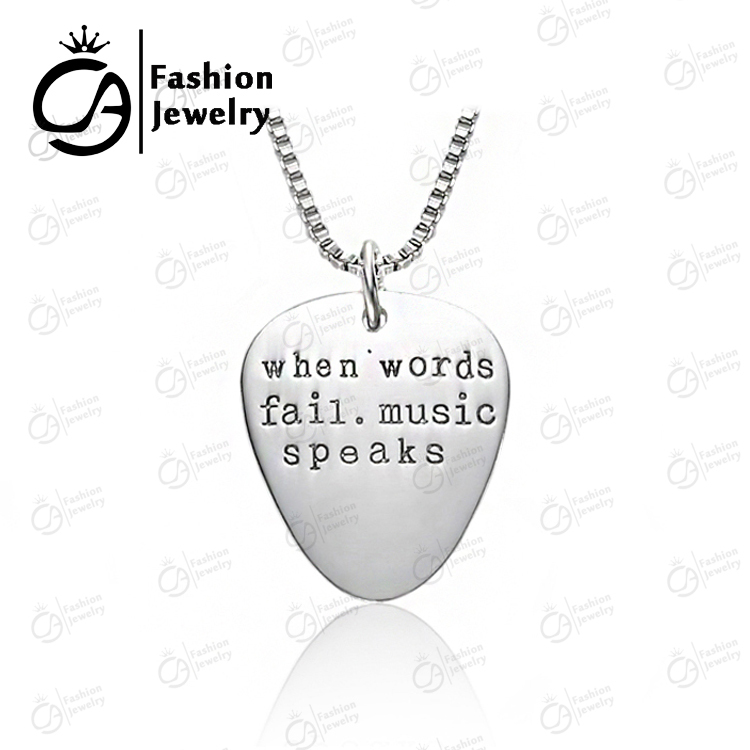 Fashion Jewelry Engraved Necklaces Guitar Pick Pendants 'When words fail, music speaks' Charm Necklace for Boy Girl #LN1001(China (Mainland))