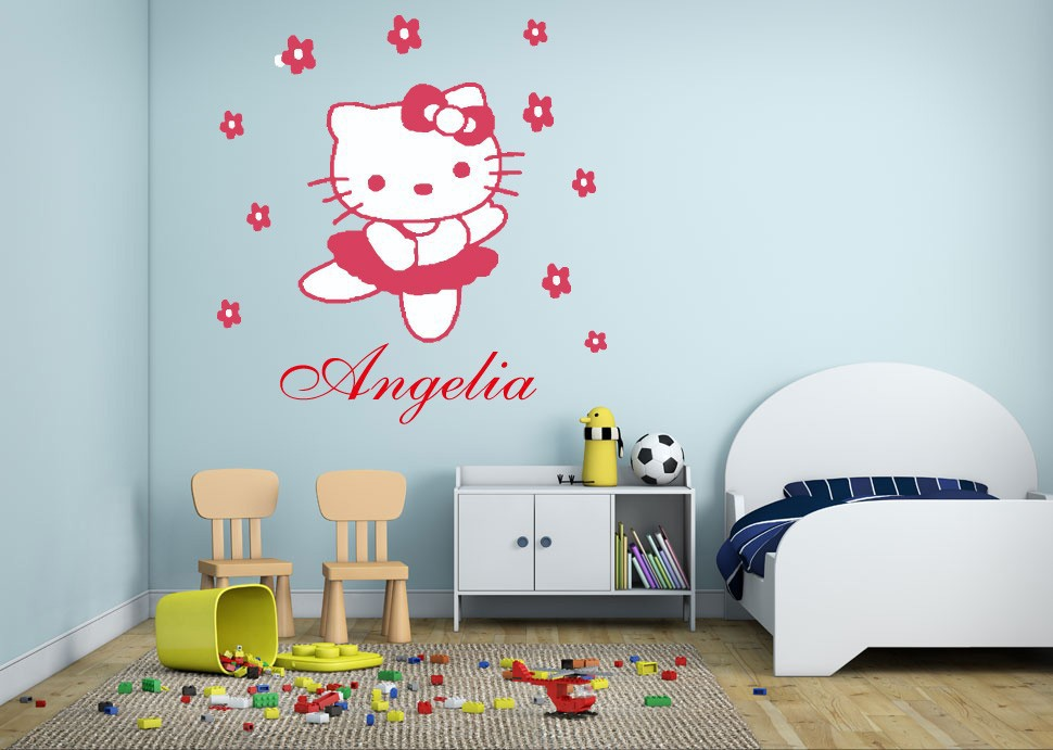 Customer-made DIY HELLO KITTY Flowers Wall Decals Wall Art Princess Girls Kids Room Decoration -You Choose Name and Color(China (Mainland))