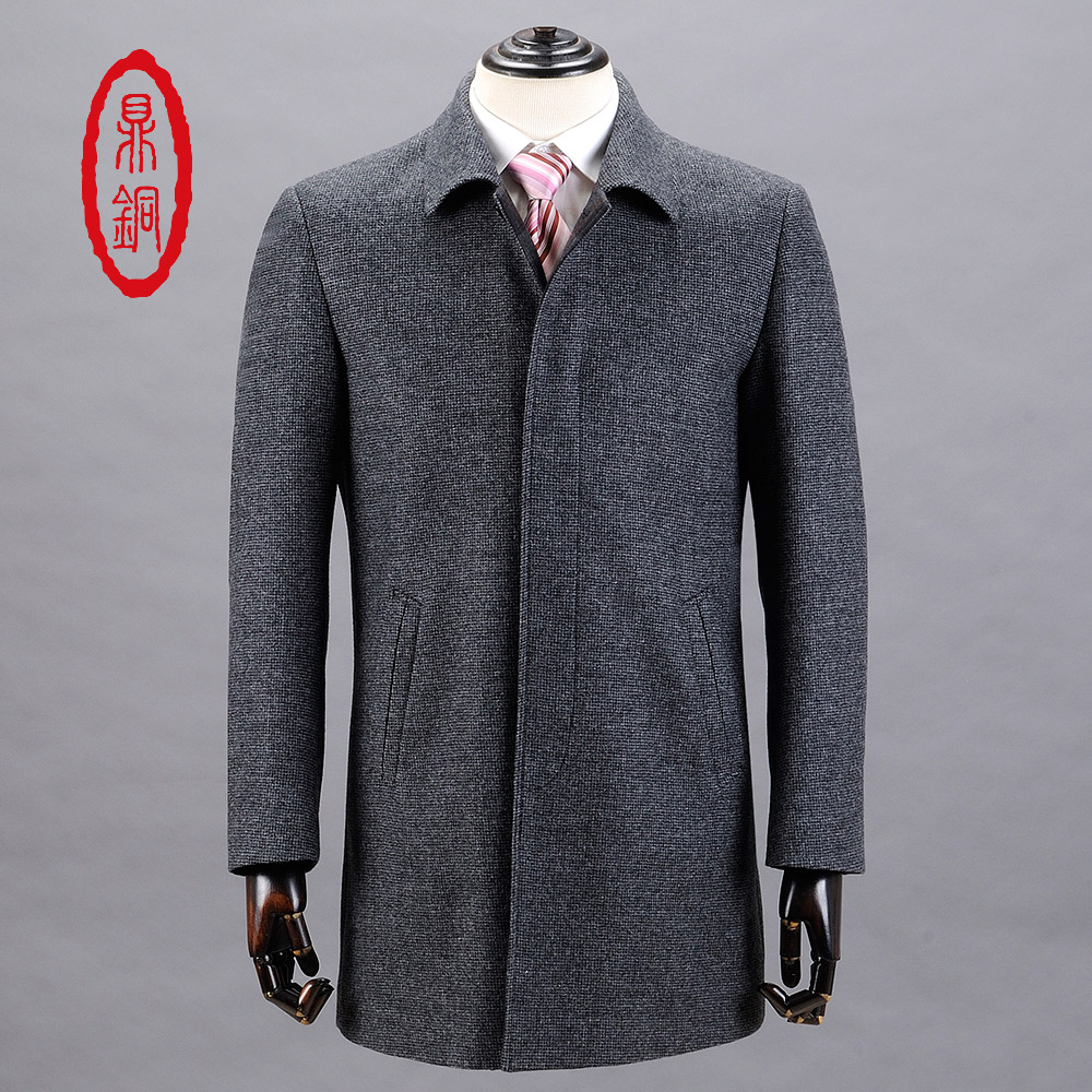 DINGTONG Mens Brand Spring Wool Cashmere Dark Grey Coats Middle Aged Man Button Fly Front Trench Overcoat Men Autumn Slim Coats(China (Mainland))