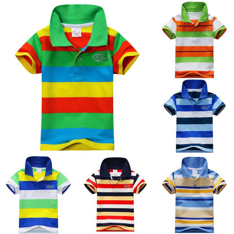 Гаджет  New Summer 1-7Y Baby Children Boys Striped T-shirts Kids Tops Sports Tee Polo Shirts Clothing None Детские товары