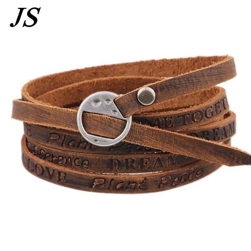 js genuine brown leather belt buckle bracelet vintage