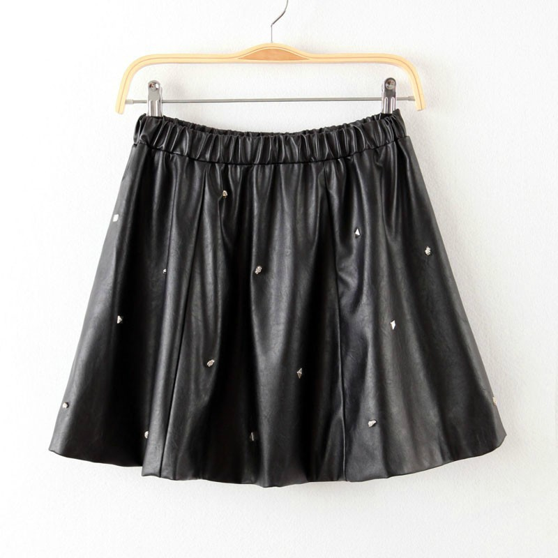 fashion 2014 summer winter faux leather skirt black