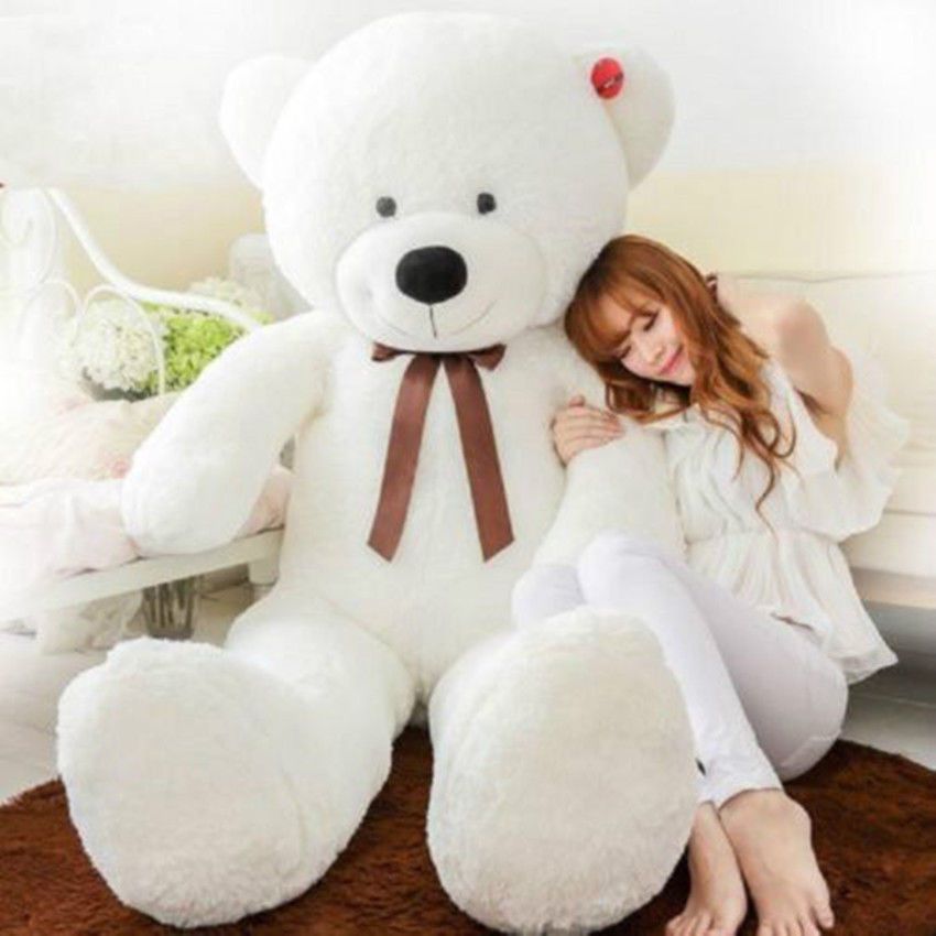 Giant huge stuffed animal white teddy bear plush soft toy 80cm 120cm 140cm(China (Mainland))