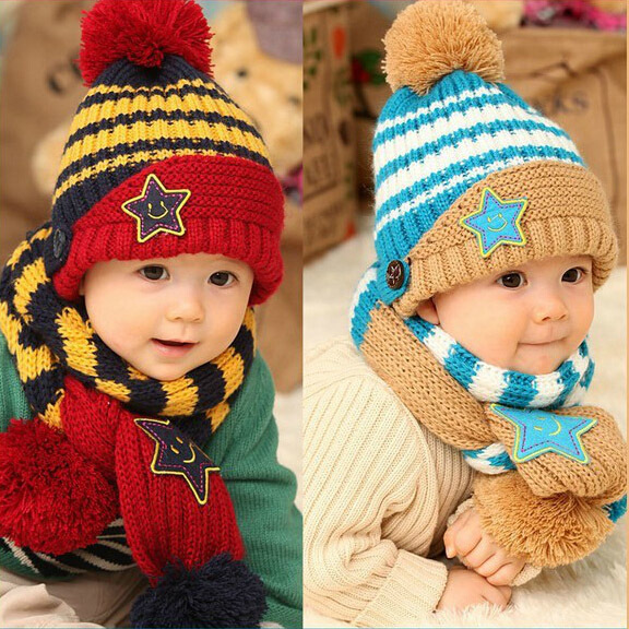 pentagram children accessories clothing set baby & kids winter dress scarf set conjuntos toucas e cachecol baby hat and scarf(China (Mainland))