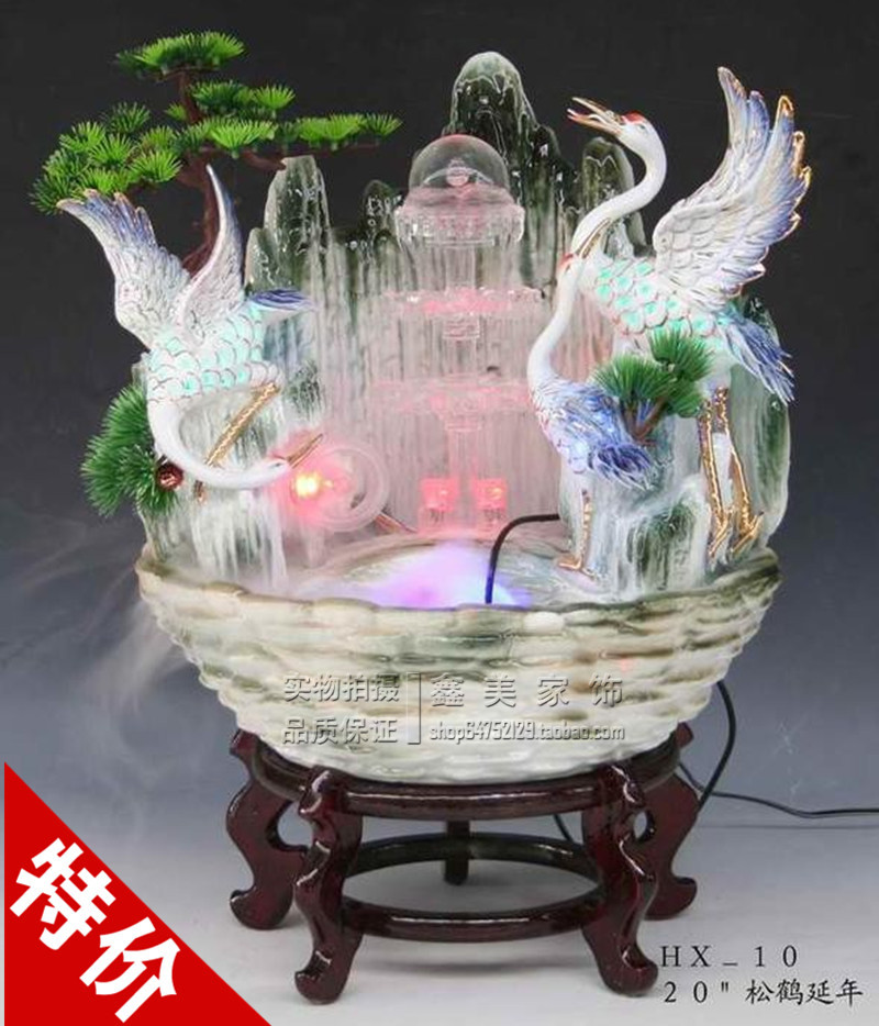 Promotional ceramic balls feng shui water fountain humidifier wheel upscale Lucky birthday gift to share the opening of business(China (Mainland))