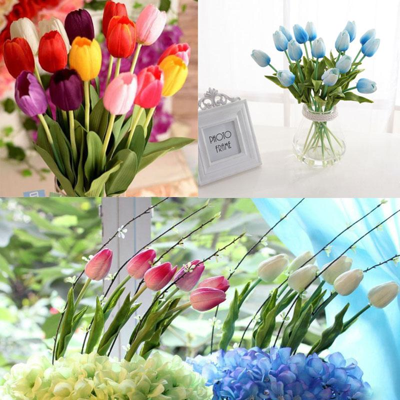 New Fasion Tulip Handcraft Artificial Flower Real Touch Bridal Wedding Bouquet Home Party Decor Hot(China (Mainland))