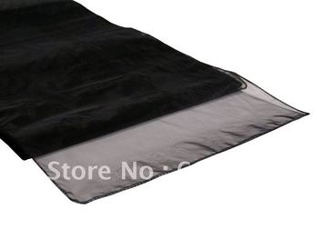 Free shipping! Table runner,100pcs black Organza table runner for wedding!