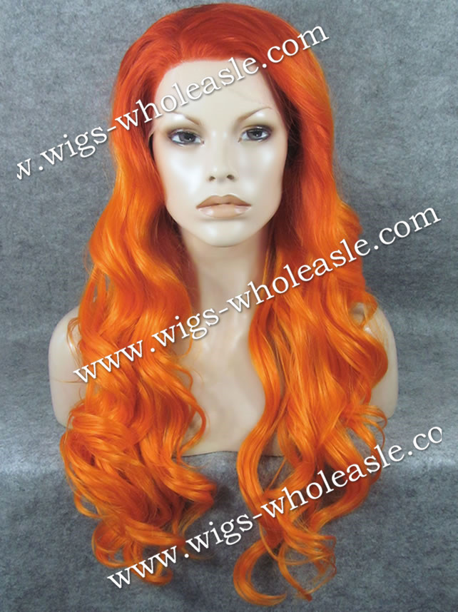 New Color Arrival Heat Resistant Wig Orange Ombre Two Tone Long Wavy Synthetic Lace Front Wig<br><br>Aliexpress