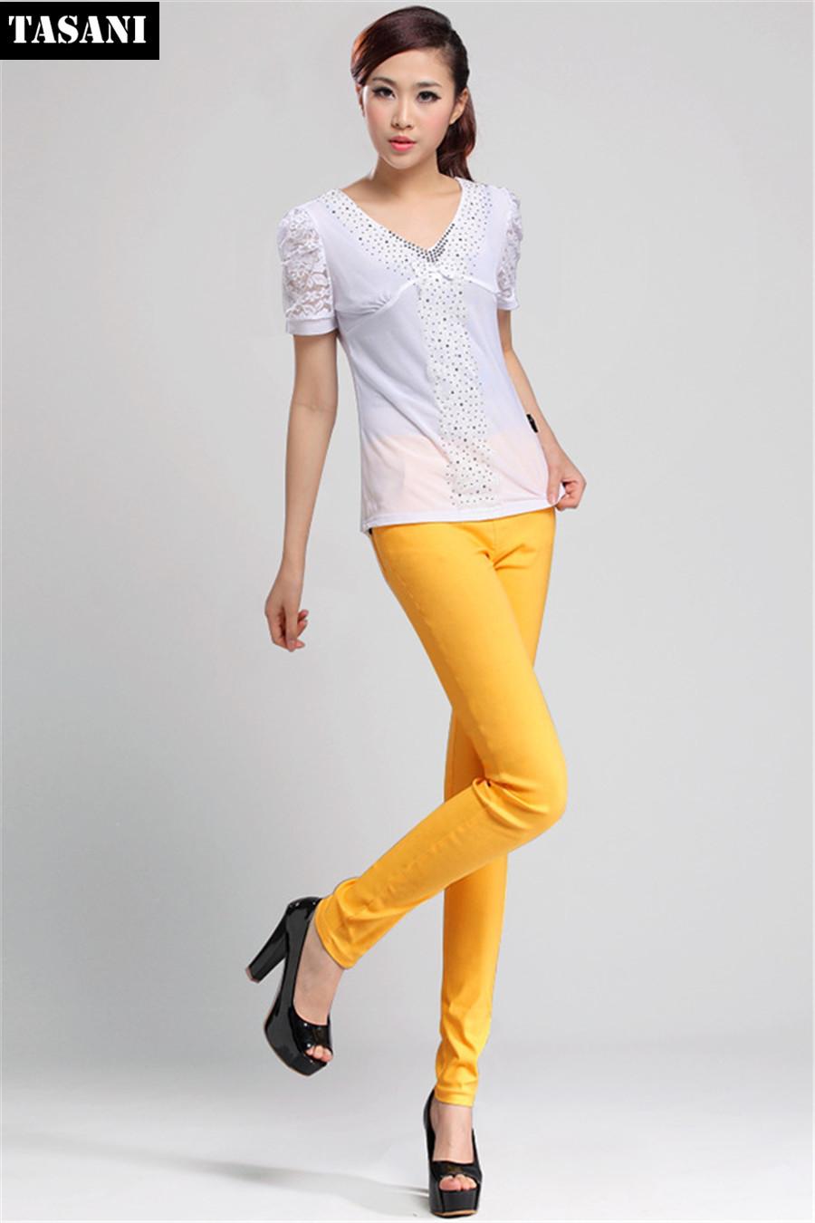 Plus 2015 New Fashion Spring Cotton Women Leggings Candy Color High Waist Pencil Elasticity Pants K3200 - TASANI store
