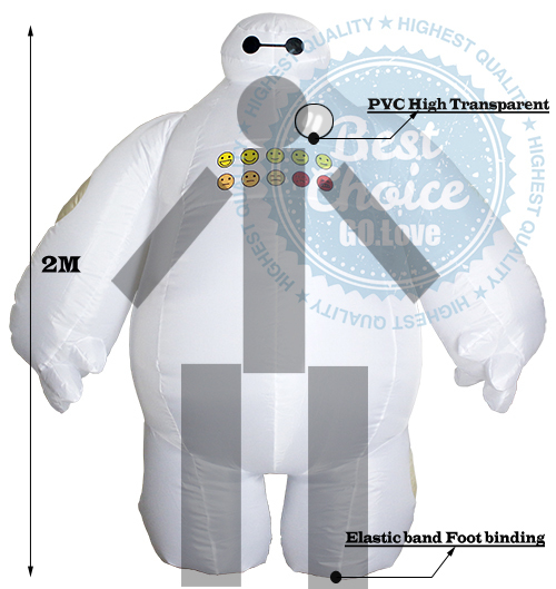 2015 NEW Big Hero 6 Inflatable baymax fancy suit costume cloth Baymax Zentai Costume Adult 2m Large mascot Cosplay(China (Mainland))