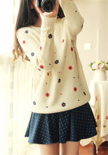 Fall 2014 Fashion Flower Brand Printed Top Shop Women Sweater O-neck Long Sleeve Loose Pullovers Tricotado Knitwear Tops
