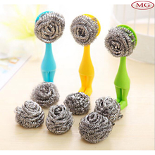 Kitchen cleaning accessories stainless steel scrubber dish pot scrubber with plastic handle