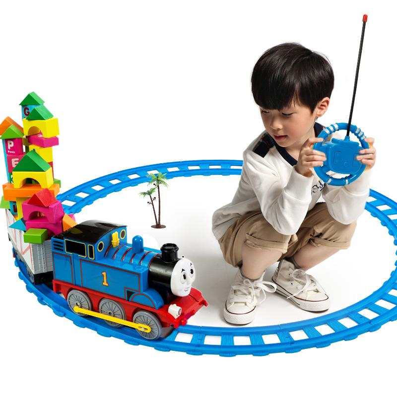 Thomas electric train remote control rail car small set child boy track toy car(China (Mainland))