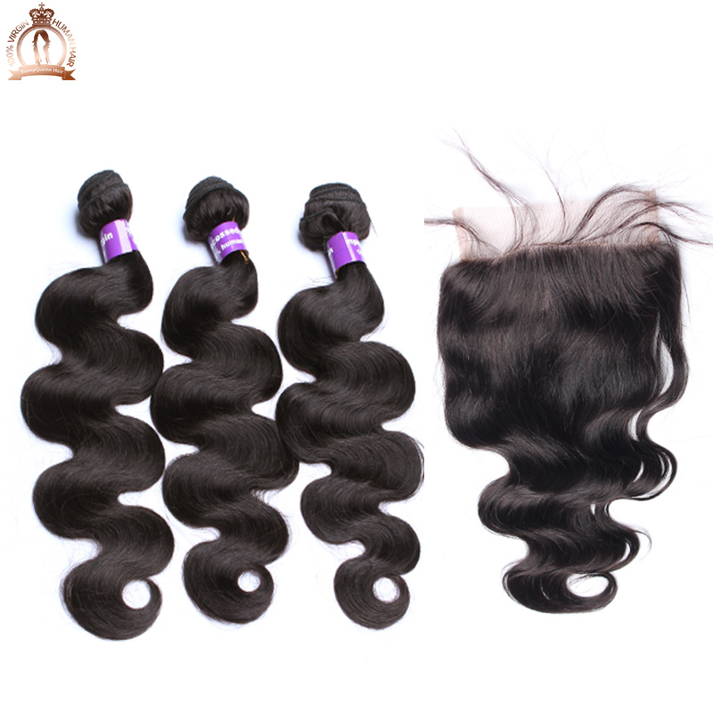 7A Indian Virgin Hair With Closure 5x5 Indian Body Wave Bundles With Lace Closure Sunny Queen Hair Products With Closure Bundle<br><br>Aliexpress