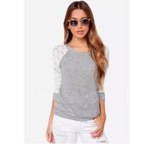T Shirt Women Brand 2015 Ms. Fashion Casual Tops Long-Sleeved T-Shirt Slim T-Shirt Round Neck Lace Stitching Slim Tshirt Women L(China (Mainland))