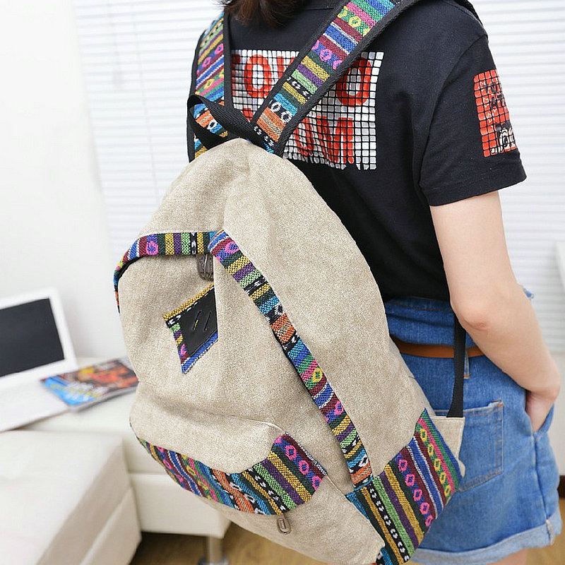 9 9 New female women ethnic brief canvas backpack preppy style school Lady girl student
