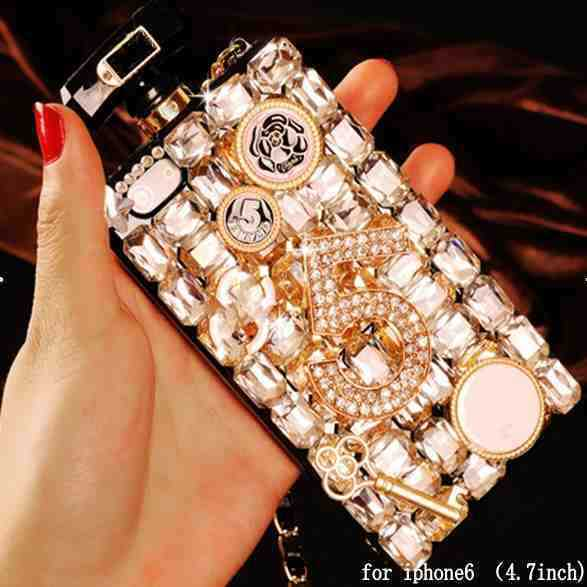 1PClot Luxury Bling Crystal Diamond Lanyard leather chain TPU CC Perfume Bottle Case Cover Iphone 5 5S 4 4S 5C 6 4.7inch - SZ store