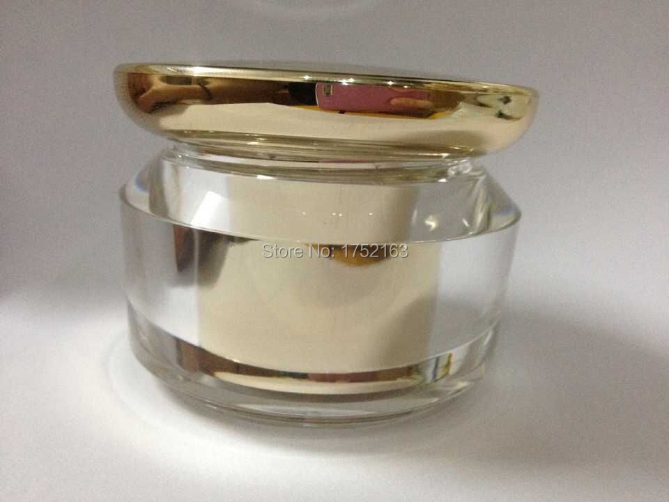 Wholesale 40g Jars Acrylic shell vial mask bottles, cream jars cosmetic containers, Eye cream jars,cosmetic jars with Gold lid(China (Mainland))