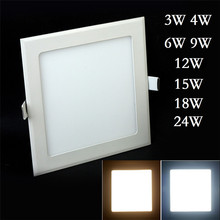 DHL Free Shipping Ultra thin 3W 4W 6W 9W 12W 15W 18W 24W Square Led Ceiling Recessed Downlight Panel light Led Panel Bulb Lamp(China (Mainland))