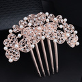 Free Shipping Wedding Hair Accessories Golden Bride Bridesmaid Flower Hair Comb Head Pieces Crystals Pearl Hair