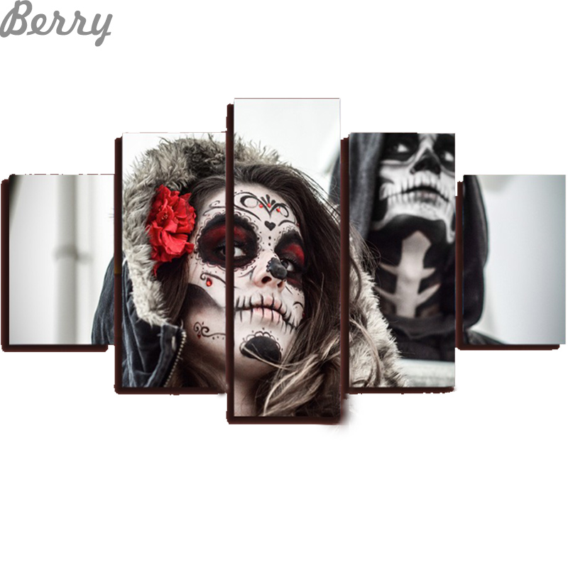 Hot sale, 5pcs,Free shipping,diamond mosaic of the Dead Face Group Painting room decor, diamond painting picture decoration(China (Mainland))